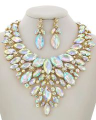 Women's AB Clear Acrylic Statement Necklace