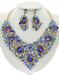 Blue Glass and Rhinestone Statement Necklace Set