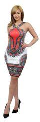 Multicolored Tribal Print Dress with V Strap Neck Design