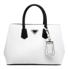 White Vegan Faux Leather Satchel
