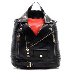 Red and Black Motorcycle Jacket Backpack