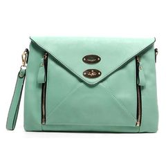 Oversize Mint Envelope Clutch