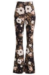 Floral Print Brushed Bell Bottom Pants