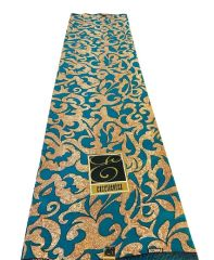 Ankara Print Fabric 6 Yards, Teal and Beige