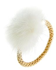 White Faux Mink Fur Gold Tone Bracelet
