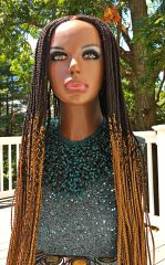 Handmade Cornrow Box Braided Ombre Wig Color 1b, 30, 27, 38 Inches