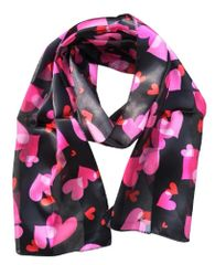 Valentine's Heart Print Satin Stripe Scarf