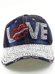 Denim Rhinestone Love Cap