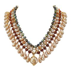 Multi Color Glass Crystal Charm Statement Necklace