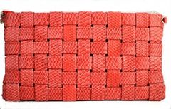 Snake Skin Weaved Clutch