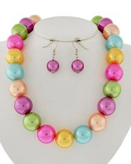 Multi Colored Synthetic Pearl Ball Necklace Set