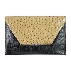 Ostrich Skin Envelope Clutch