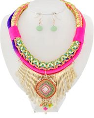 Multicolored Neon Cord Necklace Set
