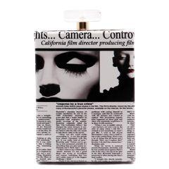 Perfume Case Magazine Print Evening Bag, Black & White
