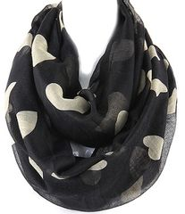 Multiple Hearts Infinity Scarf, Black