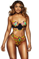 Multi Color Geometric Print High Waisted Swimsuit
