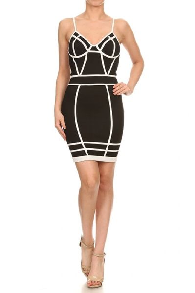 Sexy Black And White Mini Dress Body Con 2chique Boutique Trendy