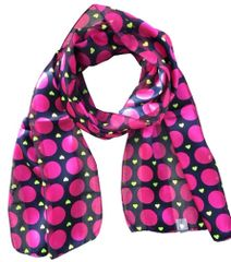 Navy & Fuchsia Polka Dot and Heart Satin Stripe Scarf