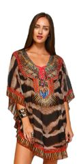 Women's Animal Print Embellished Lace up Kaftan