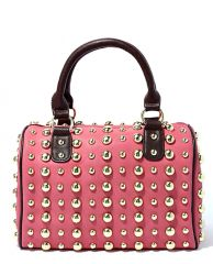 Pink Gold Studded Boston Bag