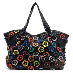 Genuine Leather Multi Flower Patchwork Satchel