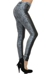 Duo Fabric Denim and Leather Contrast Pants