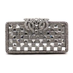 Gold Plated Rhinestone Studded Evening Bag Clutch