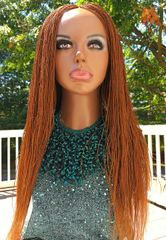 Women's Handmade Micro Twist Full Braided Wig Color 30, 24 Inches