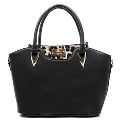 Women's 2 in 1 Pebble Texture Satchel and Twist Lock Leopard Cross Body Bag