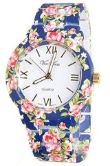 Navy Blue Flower Printed Metal Band Watch