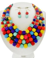 Multicolor Acrylic and Rhinestone Multi Row Necklace Set