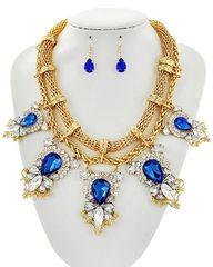 Sapphire Glass Necklace Set