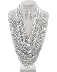 Rhodium Silver Metal Mesh Necklace Set