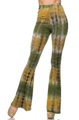 Multi Color Spring Green Tie Dye Flare Pants