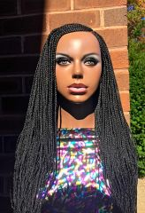 Swirl Style Cornrow Braided Wig Color 1, 26 Inches