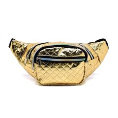 Quilted Gold Metallic Fanny Pack Waist Bag