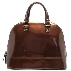 Vegan Patent Leather Bowler Tote