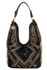 Trendy Gold Studded Hobo Bag