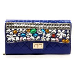 Quilted Blue Embellished Clutch