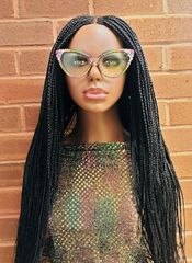 Handmade Cornrow Box Braided Wig Color 1 Black, 32 Inches