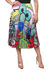 Cartoon Print Pleated Midi Skirt with Elastic Waistband