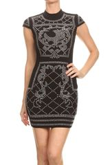 Black Body Con Dress with Rhinestone Detail