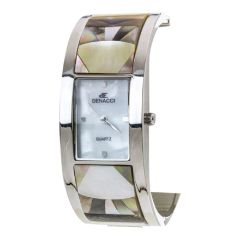 Rhodium Pave Shell Fashion Bangle Watch