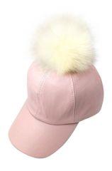Women's Pastel Faux Leather Pom Pom Hat