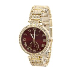 Red Dial Rhinestone Luxury Watch