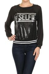 Sequined Sweater Top with Striped Trim