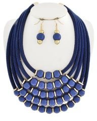 Acrylic Beaded Cord Necklace Set