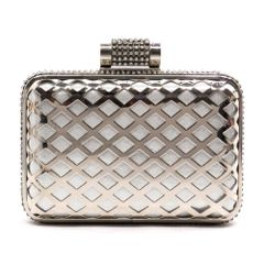 Laser Cut Metal Frame Rhinestone Evening Bag