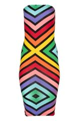 Printed Tube Midi Length Dress