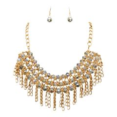 Aurora Borealis Layered Beads and Chain Drop Necklace Set